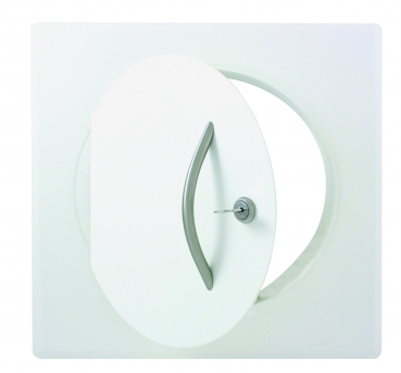 Laundry chute door DN250, white, RAL9016 with handl and looking band