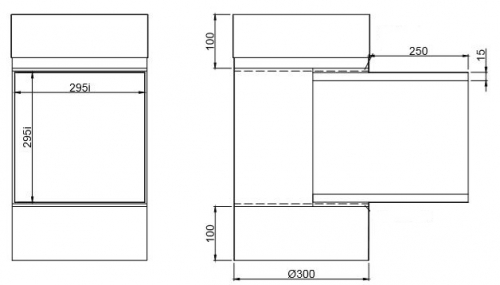 Easy-Line Door T-piece 500 mm, 295/295, DN300 stainless steel